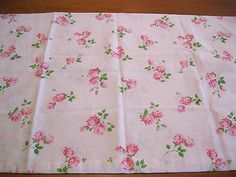 Vintage Pink Roses Pillowcase Cotton Blend Standard Size Estate Item