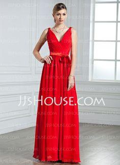 Evening Dresses - $126.99 - A-Line/Princess V-neck Floor-Length Chiffon Charmeuse Evening Dress With Ruffle (017022550) http://jjshouse.com/A-Line-Princess-V-Neck-Floor-Length-Chiffon-Charmeuse-Evening-Dress-With-Ruffle-017022550-g22550