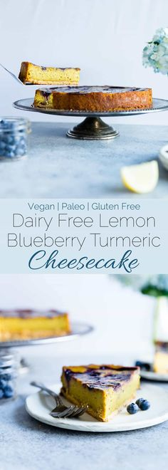 Blueberry Lemon Turmeric Vegan Cheesecake - This easy, paleo friendly cheesecake is made from cashews and has a blueberry swirl! It's so creamy you'll never know it's dairy, grain and gluten free!   Foodfaithfitness.com   @FoodFaithFit Bon Dessert, Paleo Dessert, Healthy Dessert Recipes, Baking Recipes, Whole Food Recipes, Paleo Baking, Best Gluten Free Desserts, Paleo Recipes Easy, Gluten Free Recipes For Dinner