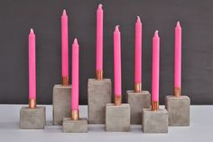 concrete + copper candleholders DIY