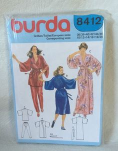 BURDA SEWING PATTERN 8412 Kimono and pants UNCUT sizes 10 12 14 16 18 20…