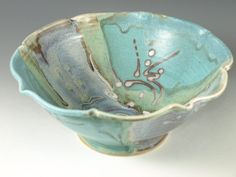 Handmade serving bowl in turquoise blue wheel by Hodakapottery, $46.00
