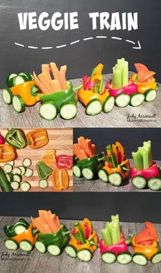This Veggie Train Snack is fast and easy to make and so fun for the kids. Don't worry about getting it perfect, the kids will love it! fast food recipes snacks EASY Veggie Train Snack for Kids Cute Food, Good Food, Veggie Platters, Party Platters, Party Trays, Healthy Snacks, Healthy Recipes, Detox Recipes, Shrimp Recipes