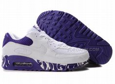 brand new 1037b 42936 Nike Air Max 90 White White Varsity Purple Womens Shoes - Click Image to  Close