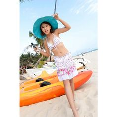Jingeer two piece swimsuits sale: floral halterneck two piece bikini with cover up have  82% Nylon and 18% Spandex - fabric composition allows for enough stretch and a comfortable feel