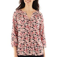 St. John's Bay® 3/4-Sleeve Smocked Peasant Top  found at @JCPenney