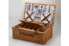 Sundowner Brampton Four Piece Wicker Picnic Basket Lunch Outdoor Camping NEW