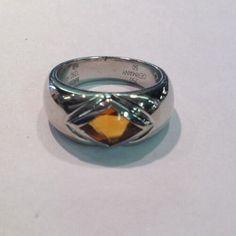 18k 750 White Gold Montblanc Citrine/Topaz Ladies Ring, Signed