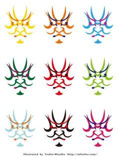 隈取りラインナップ Japanese Taste, Japanese Beauty, Japanese Culture, Graphic Patterns, Print Patterns, Japanese Drawings, Japan Design, Logo Stamp, Painting Patterns