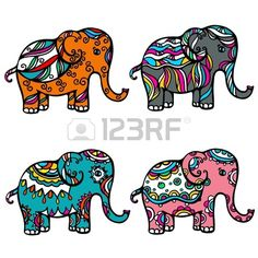 Indian Elephant Art | indian elephant : Set of