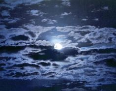 Blue Moon Photo Night Sky Cobalt Moon Art by JulieMagersSoulen, $20.00