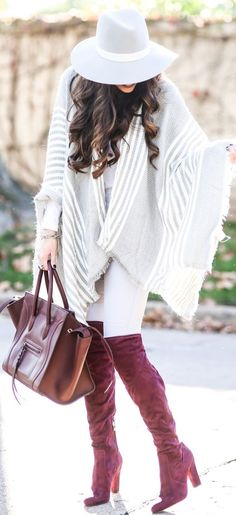 Striped Cape Poncho Fall Street Style Inspo by The Sweetest Thing Fall Outfits, Cute Outfits, Fashion Outfits, Fashion Fashion, Fashion Shoes, Jeans Fashion, Dupes, Stuart Weitzman, Celine