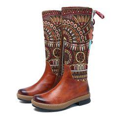 SOCOFY Bohemian Splicing Pattern Flat Leather Knee Boots