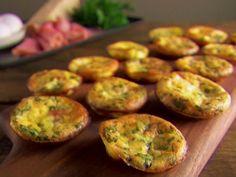Mini Frittatas from FoodNetwork.com  Approx. 22 calories/egg muffin! Crispy prosciutto, cilantro, cheddar & mozzarella cheeses- Yum!