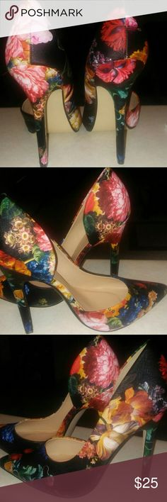 Floral print shoes New floral print shoes JustFab Shoes Heels