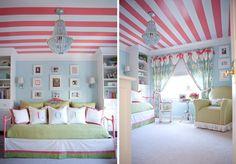 rosa Streifen an der Decke mädchen  jugendzimmer