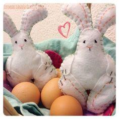 La #Pascua de los Niños. Lindos #conejos en #Fieltro #Felt #DIY #Pascua #Easter