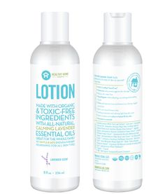 Lotion is made from organic, Ecocert and ToxicFree® ingredients with a calming, natural lavender scent. It is great for the whole family, but gentle enough for baby. The unique combination of ingredients and essential oils are nourishing for all skin types, even sensitive skin. Lotion absorbs quickly, doesn't leave a greasy film and is free from harsh chemicals like cetyl alcohol, synthetic fragrances, parabens, acetate and dyes.