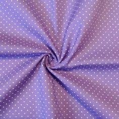 Feine Qualität für Hemden und Blusen: lila Stoff mit weißen Punkten