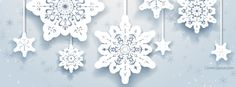 White Hanging Snowflakes  Facebook Cover CoverLayout.com
