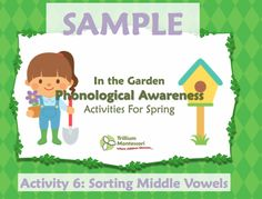 Phonological awareness activities for spring.  Download a free activity: sorting by middle vowel sounds.