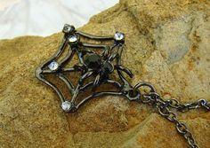Black Spider Gun Metal Tone Necklace Rhinestone Scary Halloween Beauty