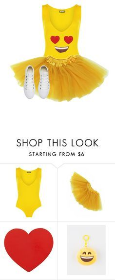 """Heart Eye Emoji Halloween Costume 2016"" by garaff ❤ liked on Polyvore featuring WearAll and Converse"