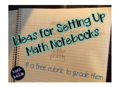 Blog Post:  Ideas for Setting Up Math Notebooks (post includes a free notebook grading rubric!)