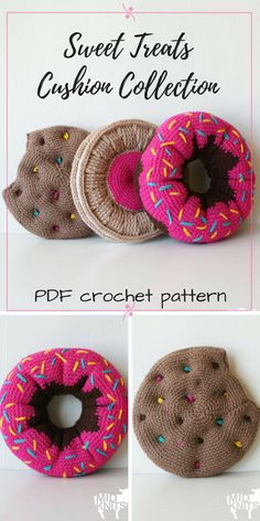 what fun pillows! Perfect to make for a kid's room or a teen's room! Three different crochet patterns for a donut pillow and cookie throw pillows. How adorable are these? #etsy #ad #crochet #amigurumi #doughnut