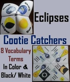 Total Solar Eclipse 8/21/17 in These eclipses cootie are a great way for students to have fun while learning about the different types of eclipses. These cootie catchers contain the following vocabulary words on eclipses: Solar eclipse, Total solar eclipse, Partial solar eclipse, Umbra,