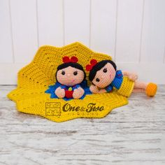Combo Pack - Snow White Lovey and Amigurumi Set for Dollars - PDF Crochet Pattern - Instant Dow Crochet Security Blanket, Crochet Lovey, Lovey Blanket, Crochet Blanket Patterns, Crochet Dolls, Amigurumi Doll, Amigurumi Patterns, Crochet Disney, Stuffed Toys Patterns