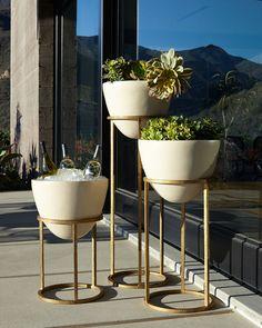 Horchow Eliana Planter/Beverage Cooler - home decor / garden / gold hue