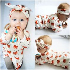 f6916596a4 2017 Spring Newborn Baby Girl Clothes Long Sleeve Cotton Fox Dress Headband  2PCS Outfit Infant Bebes