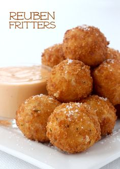 All the flavor of a reuben in a bite-sized fritter! Great way to use your leftover corned beef or just grab it from the deli! Leftover Corned Beef Recipe, Corned Beef Recipes, Meat Recipes, Cooking Recipes, Top Recipes, Curry Recipes, Cheese Recipes, Recipies, Finger Food Appetizers