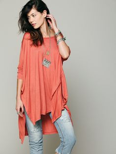 Comfy pregnancy top with maternity jeans  Free People Big Dipper Oversized Tee at Free People Clothing Boutique