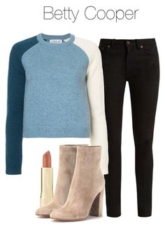 A fashion look from March 2018 featuring color block tops, skinny fit jeans and beige booties. Browse and shop related looks. Indie Outfits, Fashion Outfits, Womens Fashion, Riverdale Halloween Costumes, Betty Cooper Outfits, Betty Cooper Riverdale, Riverdale Fashion, Booties Outfit, Cute Outfits For School