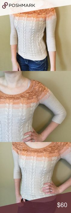 Orange ombré cable knit sweater Orange ombré into cream cable knit sweater with 3/4 sleeves. The Limited Sweaters Crew & Scoop Necks