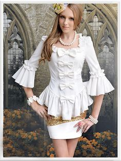 Morpheus Boutique - White 3/4 Flare Sleeve Bow Hemline Ruffle Shirt , CA$71.78 (http://www.morpheusboutique.com/products/white-3-4-flare-sleeve-bow-hemline-ruffle-shirt.html)