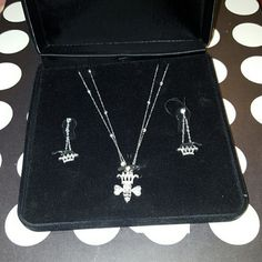 ⭐SALE⭐ Queen Bee 925 silver necklace and earrings .925 Silver Queen Bee Pendant, chain, crown earrings and posts with swarvoski crystals, necklace. (Stamped .925 on each piece )100% Proceeds go to families from fraud. A single mom and her 3 kids were left destitute by her ex husband after he fled indictment by the FBI. No child support/alimony and no warning. Their whole life was a lie and now their left to pick up the pieces through foreclosure and repossession as he runs free Genuinely…