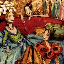 Artwork by Kathy Womack of Austin, TX- Women & Wine Fourth Limited Edition Print