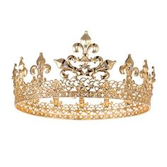 S SNUOY King Crown for Men Queen Crown Royal Costume Accessory Prom Tiara Matte Gold