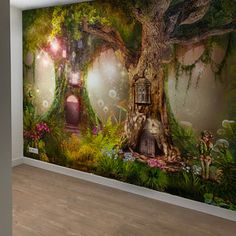 Wallpaper Self Adhesive Vinyl Magical forest NurseryMagic Enchanted Forest Bedroom, Fairytale Bedroom, Fairy Bedroom, Vinyl Wallpaper, Photo Wallpaper, Baby Girl Nursery Themes, Fairy Nursery Theme, Forest Mural, Removable Wall Murals