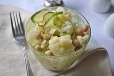 Karfiolsalat mit Kichererbsen - Rezept Risotto, Potato Salad, Potatoes, Diet, Ethnic Recipes, Food, Chickpea Recipes, Lettuce Recipes, Kochen