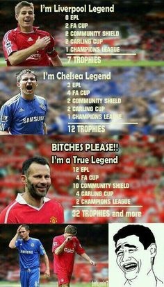 Ryan Giggs - The Real Legend Funny Football Memes, Soccer Memes, Soccer Quotes, Sports Memes, Soccer Tips, Manchester United Legends, Liverpool Legends, Manchester United Football, Liverpool Fc