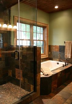 slate tile bathroom | Slate Tile in Bath | Master bath remodel ideas