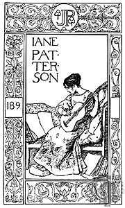 Another bookplate for a woman - Initials in top pattern - Can add any year in the 1890ies