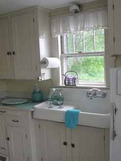 Southwest Harbor cottage rental - 1920's Farm house sink overlooking the Harbor
