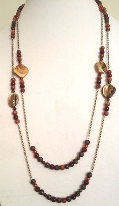 Long Bronze Wrap Necklace with Yellow Shells, Bronze Spacers, Bronze Glass Pearls, Sparkly Bronze Stones, and Bronze Chain
