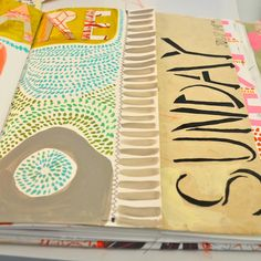 visual journal pages - Dispatch From LA Like the little hash marks made with marker/color combo