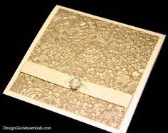 Champagne Embossed Garden Floral Wedding Invitation in Champagne Square Folded Pocket